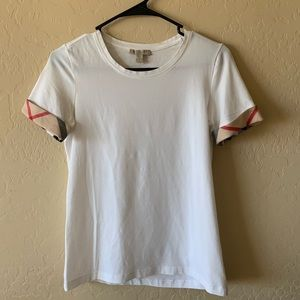 "Burberry Brit white ""house check"" cuffed T-shirt"